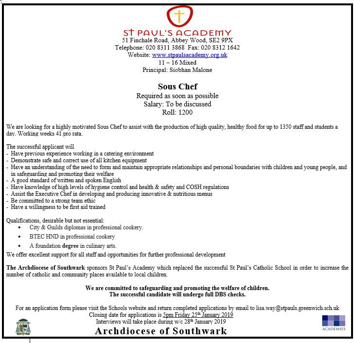 St Pauls Staff Vacancies